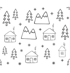 Seamless pattern doodle house and trees vector