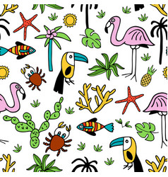 Seamless pattern with summer set isolated cute vector