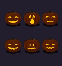 set carved scary pumpkins vector image