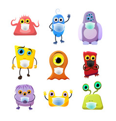 set cute monsters childish cartoon characters vector image