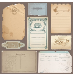 Set different vintage papers cards vector