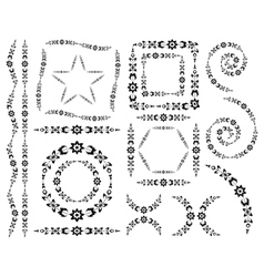 Set of decorative elements and brush vector