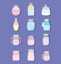Set of mason jar drawings vector