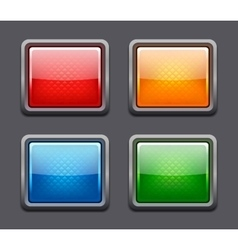 set realistic color glossy buttons vector image