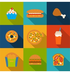 Set with fast food icons vector