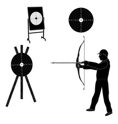 Shooter with bow and target black silhouette vector