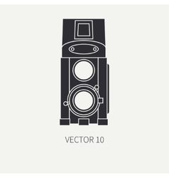 Silhouett flat icon with retro analog film vector image
