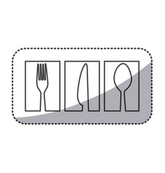 silhouette symbol cutlery food icon vector image