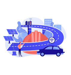 Smart roads construction abstract concept vector