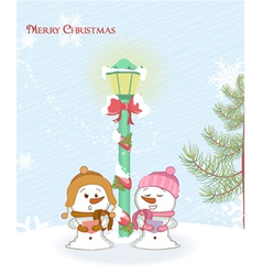 Snowmen with street light vector