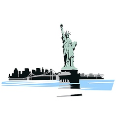 statue of liberty in the background of the bridge vector image vector image