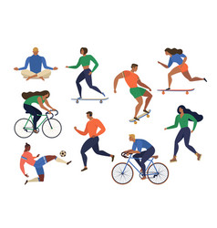 Stylized active young people vector