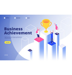 Success team isometric concept business triumph vector