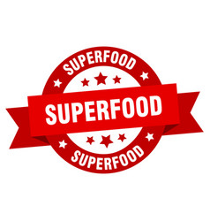 superfood ribbon superfood round red sign vector image