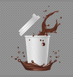 Takeaway coffee white paper cup coffee splashes vector