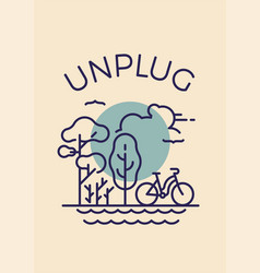 unplug poster banner or card template with simple vector image