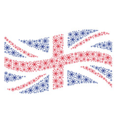 Waving united kingdom flag pattern of atom icons vector