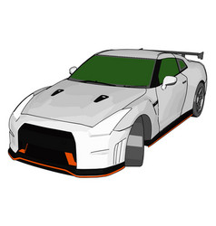 white race car with green windows and orange vector image