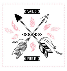 wild free poster indian tribal cross arrows vector image