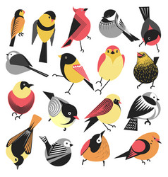 Winter and summer birds sparrows and bullfinches vector