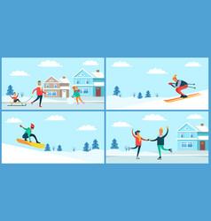 winter sport and activities vector image