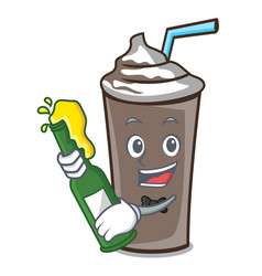 With beer ice chocolate mascot cartoon vector