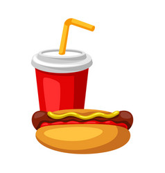 with fast food meal soda and hot dog vector image
