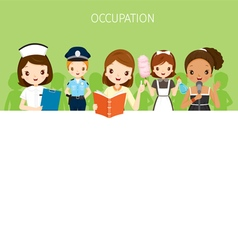 Women With Different Occupations Set On Banner vector image