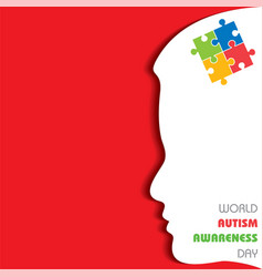 World autism awareness day with colorful puzzles vector