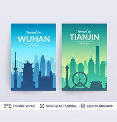 Wuhan and tianjin famous chinese city scapes vector