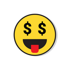 Yellow smiling face see money positive people vector