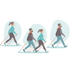 young couple making nordic walking training vector image