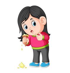 young girl feeling unhappy with ice cream fall vector image