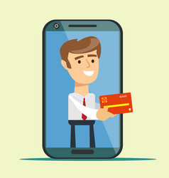 young man from smartphone screen giving credit vector image