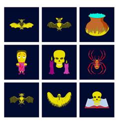 assembly flat book skull ghost bat vector image