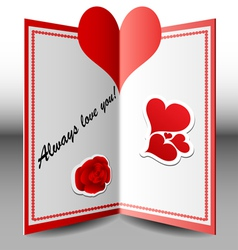 Folded Valentine card vector image