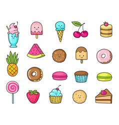 funny icons of sweets fruit and ice cream donuts vector image vector image