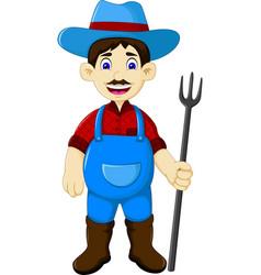 funny male farmer cartoon holding rake vector image vector image
