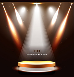 gold stage with spotlight and star on brown vector image vector image