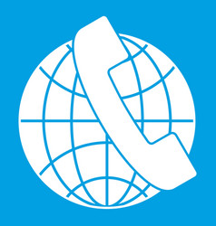 handset and globe icon white vector image