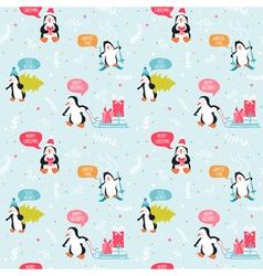 Penguin Christmas Background- Seamless Pattern vector image vector image