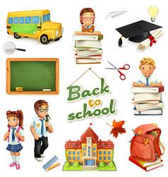 School and education 3d icon set Funny cartoon vector image vector image