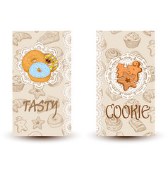 tasty and cookiesdesign elements in sketch style vector image