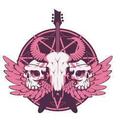banner with guitar skulls wings and pentagram vector image vector image
