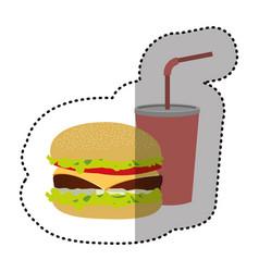 hamburger and soda flat icon vector image vector image