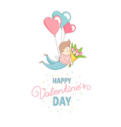 happy valentines day card man flying with heart vector image