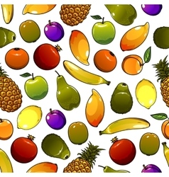 Healthy ripe fruits seamless pattern background vector image vector image