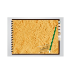 Old brown Crumpled paper notebook vector image vector image