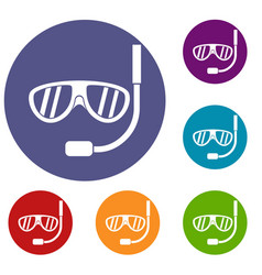 Swimming mask icons set vector