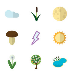 Flat icon bio set of cattail overcast champignon vector